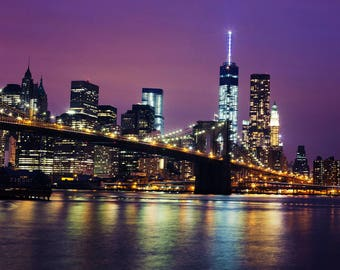 Manhattan Skyline at Night - Fine Art Photograph, New York, Travel, NYC, Wall Art