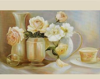 70% off ORIGINAL Oil Painting Tea Time 36 x 23 Brush Flowers Vase Tea Roses Pale English  ART by Marchella