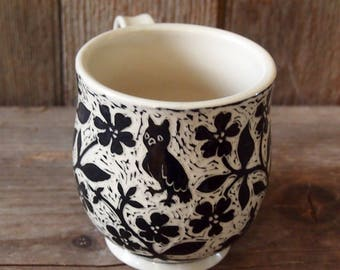 Large Cup in White Stoneware, Hand Carved all Over with Black Flower Vines, Birds and an Owl