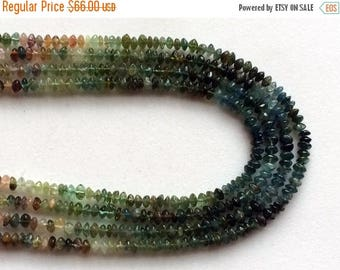 ON SALE 55% Green Tourmaline Beads, Green Tourmaline Plain Button Rondelle Beads, 4-4.5mm Green Tourmaline Beads, 12 Inch Strand, Tourmaline