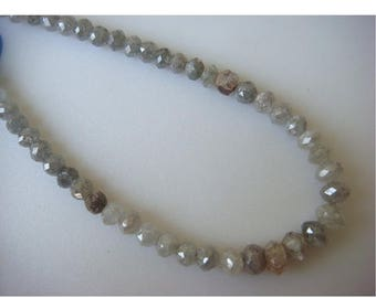 ON SALE 55% Rough Diamond Beads, Faceted Diamond Beads, Raw Diamonds, 4mm To 3mm Each, 7.5 Inch Half Strand