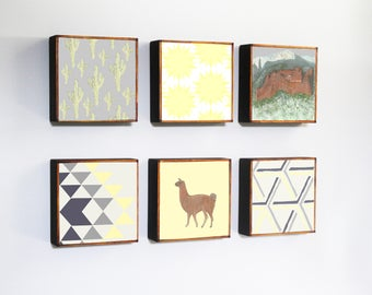 southwestern nursery art -llama mountains- choose 6 designs- gender neutral baby- boho childrens wall decor- nursery- redtilestudio