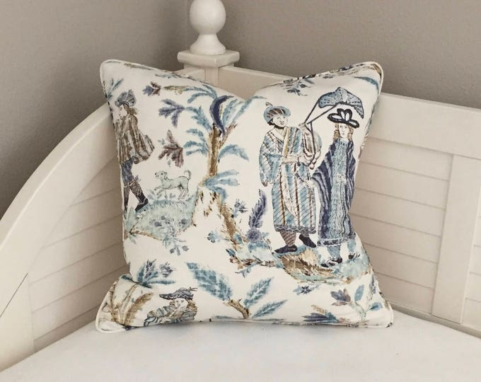 Thibaut Royale Toile in Turquoise and Navy Designer Pillow Cover with Self Welt  (Design 1)- Square, Euro and Sham Sizes