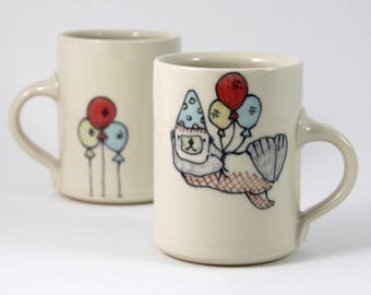 Otter Coffee Mug Handmade Pottery Coffee cup tea cup cute animal themed ceramics illustrated pottery party otter with balloons adorable mug