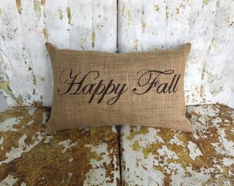 HAPPY FALL in Script Lumbar Style Fall Thanksgiving Painted Burlap Throw Accent Pillow Home Decor