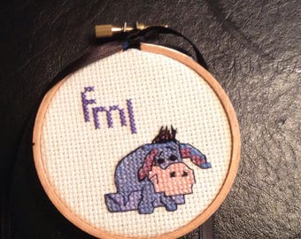 Handmade FML Eeyore mini embroidered simple words cross stitch sign  f*ck my life tiny OOAK sign