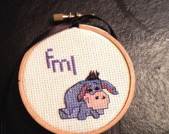 Handmade FML Eeyore mini embroidered simple words cross stitch sign  f*ck my life tiny OOAK sign