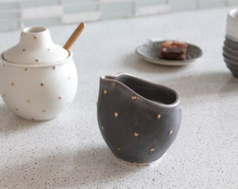 Ceramic Creamer With GOLD polka dots - Pottery Maple Syrup Pourer