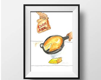 Cornbread Watercolor Print/Southern Food Illustrations