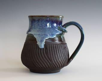 Ceramic Mug, 15 oz, handthrown ceramic mug, stoneware pottery mug, unique coffee mug