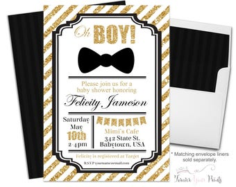 Boys Baby Shower Invitation - Baby Shower Invitation Boy - Baby Boy Shower - Boys Baby Shower - Bow Tie Baby Shower Invite - Little Man