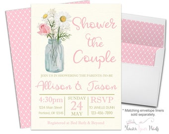 Couples Engagement Party Invitation - Coed Engagement Invitation - Couples Bridal Shower - Shower The Couple- Mason Jar - Country Wedding