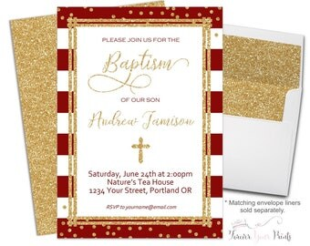 Printable Baptism Invitation - Baptism Invitation Boy - Christening Invitation Neutral  - Red and Gold Baptism - Dedication - Communion