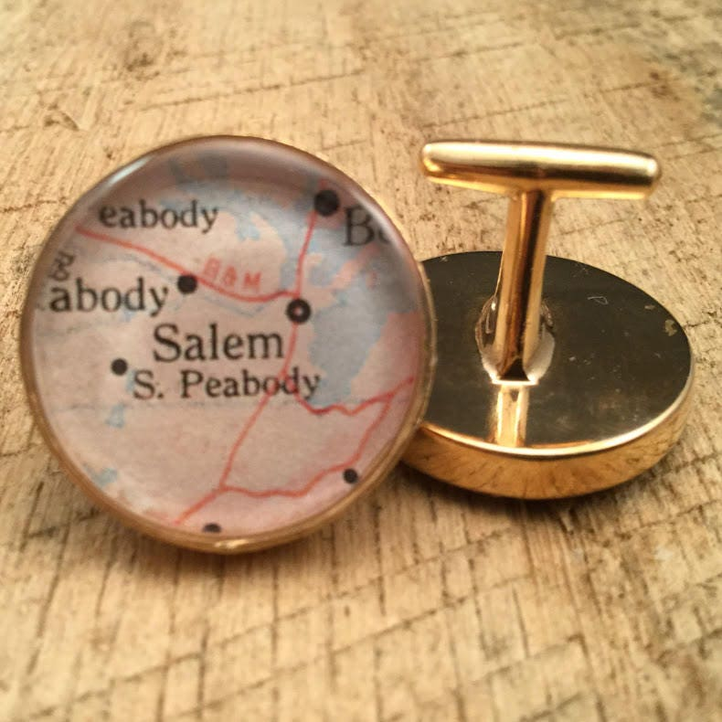 Custom Solid Bronze Map Cufflinks Brother Gift Boss Man Anniversery