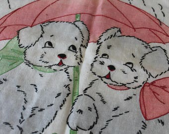 Vintage Hand Embroidered Puppy Pillow Case Vintage  Vintage Child's Hand Embroidered Puppy Pillow Case Vintage Embroidered Pillowcase
