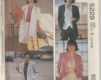 Jacket Pattern Unlined 3 Different Lengths Misses Size 14 - 16 - 18 uncut McCalls 5229