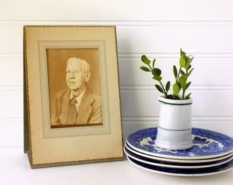 Photograph Portrait Cabinet Card Photo. Vintage Photography of Elderly Man. Cardboard Frame. Assemblage Art Supplies. Paper Ephemera.
