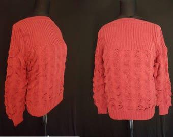 Boatneck Bumpy Dusty Rose Vintage 1980's NOS Women's Sweater S