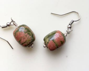 Pink and Green Unakite Earrings