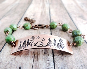 Camping Bracelet - Green Beaded Bracelet - Rustic Nature Jewelry - Hiker Bracelet - Sleep Under the Stars - Campsite Tent - Outdoor Woman