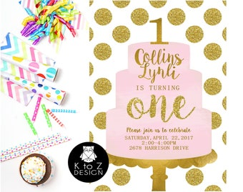 First Birthday Party /First Birthday Girl Invitation /Pink & Gold Birthday Invitation/ Printable Invitation / Printed Invitations