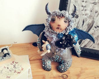 Devil doll, stuffed monster, stuffed devil, monster doll, gothic doll,  krampus doll, ragdoll,  demon doll, fabric sculpture