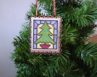 Stain Glass Christmas Tree, Hand Stitched Christmas Ornament