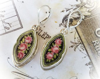 Antique Broken China Jewelry Black w/ Pink Roses Earrings