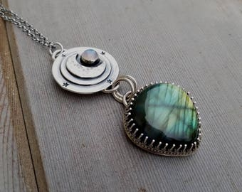 Moon and Stars Labradorite and Moonstone Pendant with 18 inch chain