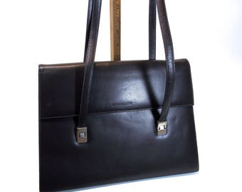 Antonio Scepi, Made in Italy Gunmetal Grey Kid Skin Leather, Double Handle Shoulder Bag, Envelope Style