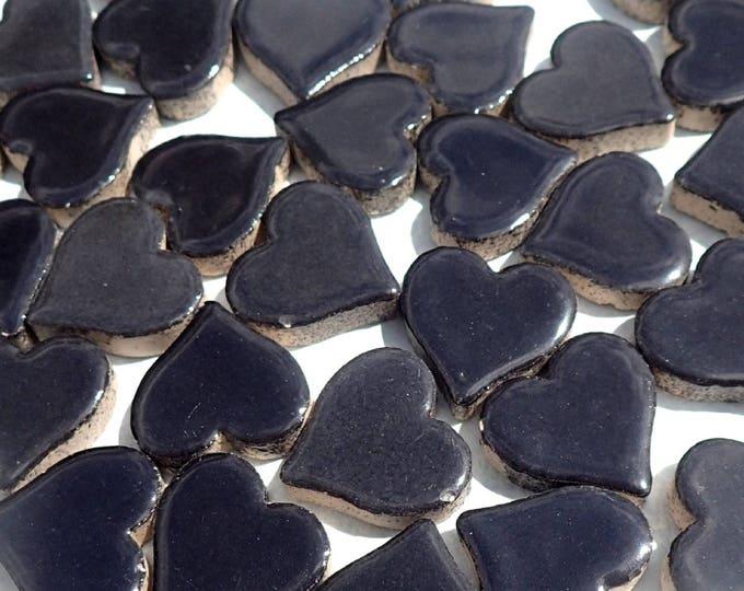 Black Heart Mosaic Tiles - 25 Large Ceramic 5/8 inch Tiles in Ebony