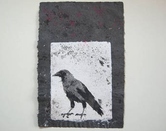Caged Crow No. 9 – Pulp Painting on Handmade Abaca/Cotton Paper with feathers and gold foil inclusions (2016), Item No. 243.09