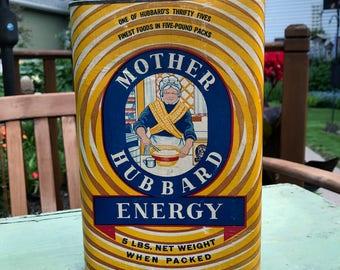 Vintage Mother Hubbard Energy Wheat Cereal Tin Empty 5 Lb Tin Excellent Condition Mankato Minnesota