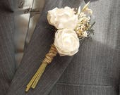 Ships in 5 days ~~~ Rustic Sola Flower Peony Boutonniere