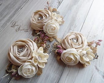 Rustic Sola Flower Wedding Corsage. Can be worn as a wrist corsage or pin on.