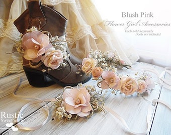 Blush Pink ~ Flower Girl Accessories ~ Boot Band ~ Flower Crown ~ Wrist Corsage. Ready to ship, will arrive to you in 3 days priority mail!