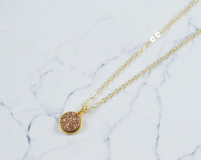 Rose Gold Druzy Necklace, Real Druzy, Crystal Necklace, Simple Gold Necklace, Bridesmaid Jewelry, Gemstone Necklace, Bridesmaid Necklace