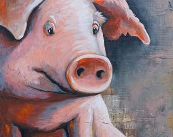 Pig Art Print, titled Oink, pig art, farm art, modern farmhouse art, pig painting, Limited Edition Print on Paper