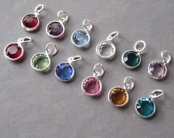 Swarovski Birthstone Charms, 8mm Large Swarovski Crystal Channel Charms, Bead Dangles, Add a Charm, Necklace Charms, Personalized Jewelry