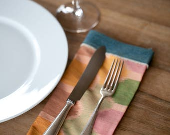 Set of 4 GENUINE IKAT hand woven cloth napkins -  Balinese Ikat with recycled jeans