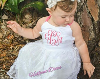 Toddler Tweens Lace monogrammed Maxi dress sizes 2T 3T 4T 5 6 7 8 10 12 14