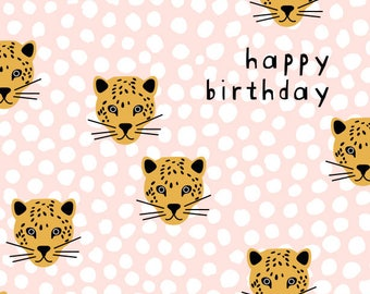 HAPPY BIRTHDAY PANTHER greetings card w/ envelope