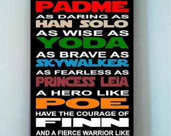 ON SALE Beautiful STAR Wars wooden subway art sign -In this house we are as strong as a wookie as noble as padme as brave ....