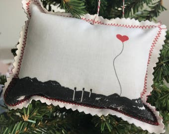 Bend Oregon Old Mill Mountains Fabric Ornament