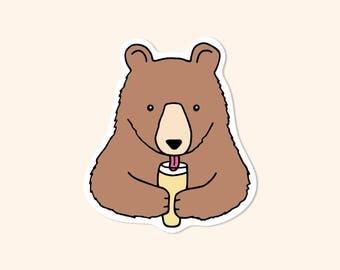 Bear with Craft Beer Vinyl Sticker