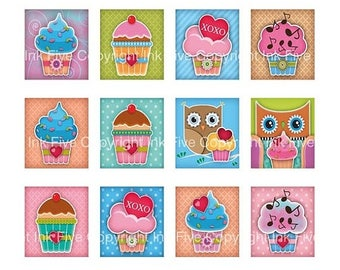 Cupcakes with Love scrabble tile valentine images 0.75x0.83 inch. Two 4x6'' Collage Sheets for scrabble pendants. Sweets digital download