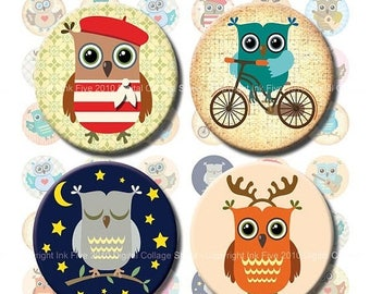 Digital Collage Sheet Little Owls 1  inch and 1.313 inch circles images. Printables & downloads images. Digital Collage Sheet printable.
