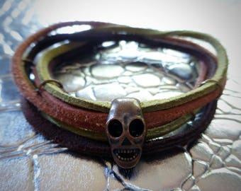 Brown, Tan & Olive Green Sueded Leather w/ Copper Skull BRACELET