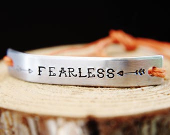 Bracelet FEARLESS Inspirational ONE Custom Hand Stamped Jewelry Name Tie On Hemp Cord Personalized Friendship Positive Affirmation