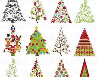 BACK TO SCHOOL Sale Christmas Tree Clipart Clip Art, Christmas Holiday Decor Clipart Clip Art Vector - Commercial and Personal